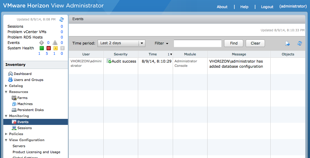 VMware View Events Database